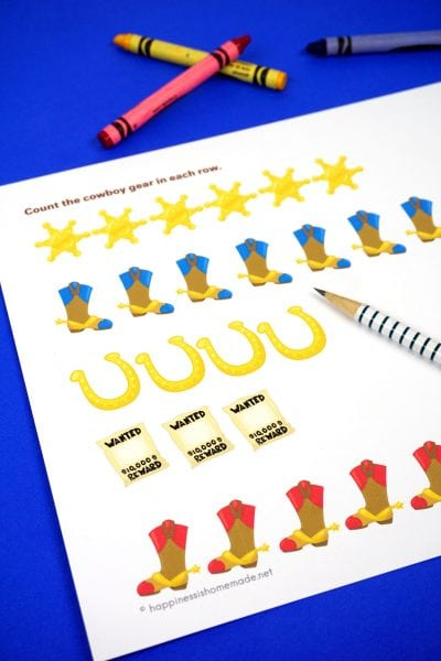 Cowboy Number Printables for Preschoolers