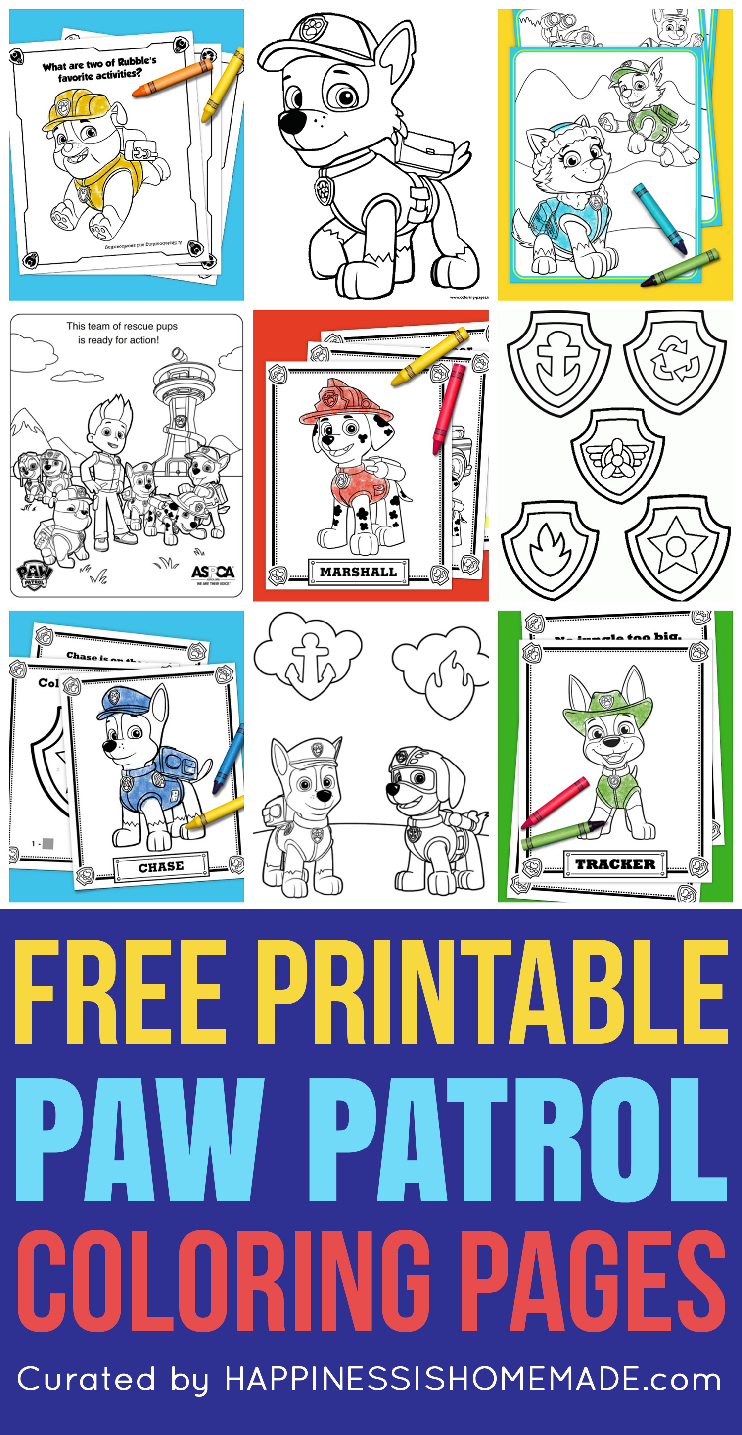 you'll go crazy for these printable paw patrol coloring sheets featuring  ryder, chase