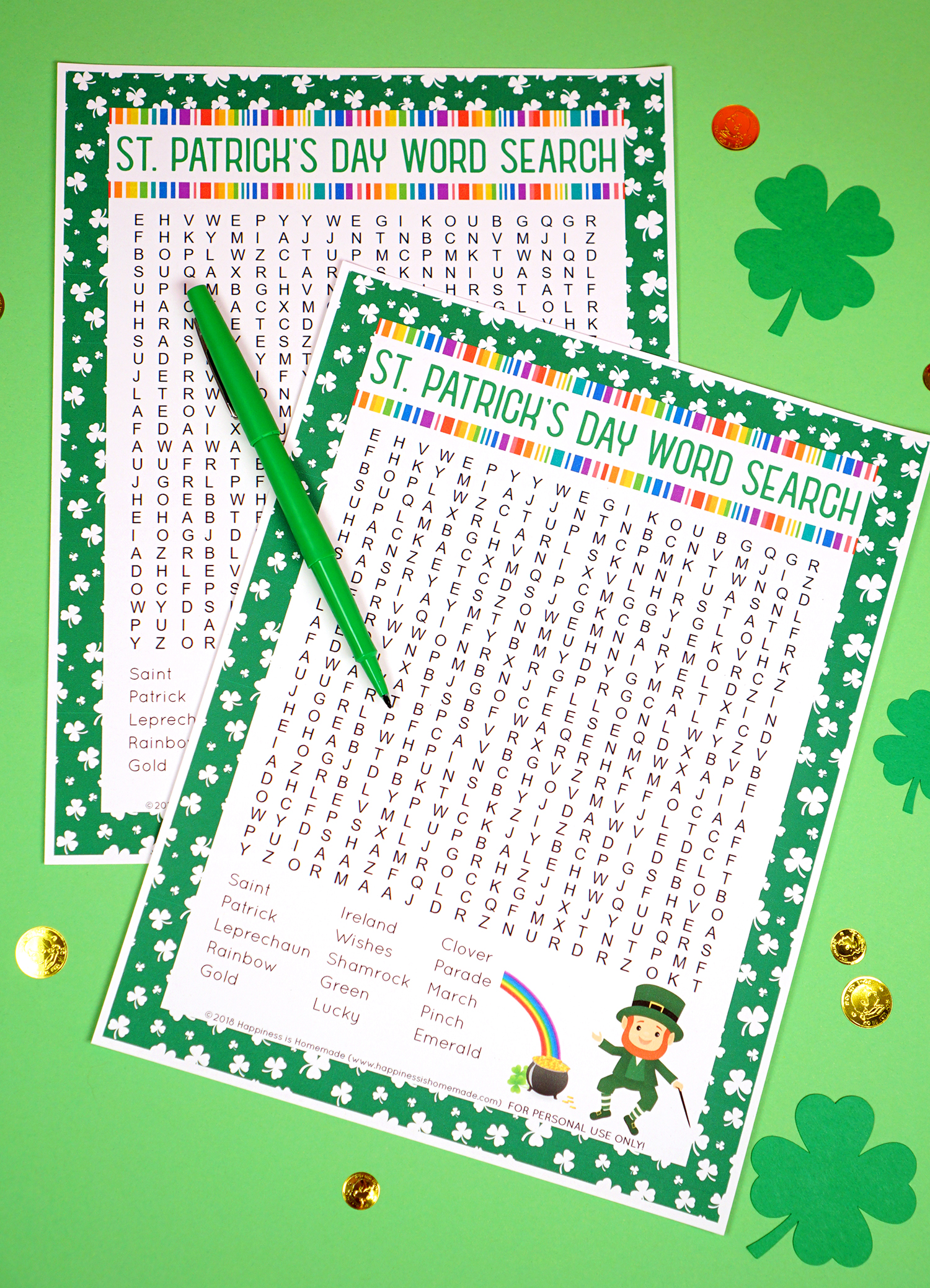 photograph about Free Printable Word Search for Kids called St. Patricks Working day Phrase Glimpse Printable - Contentment is Handmade