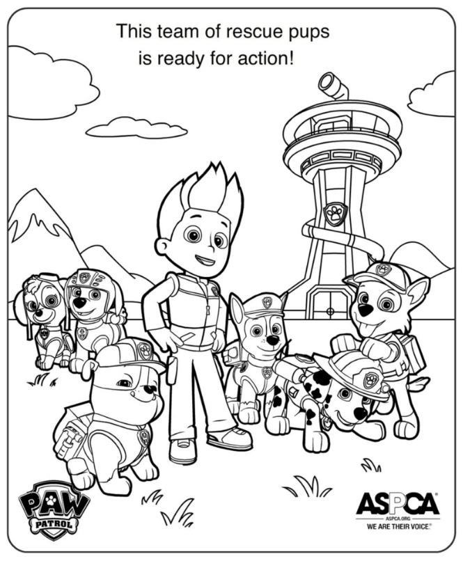 This PAW Patrol Coloring Sheet Pack Features Everyones Favorite Snow Pup Everest