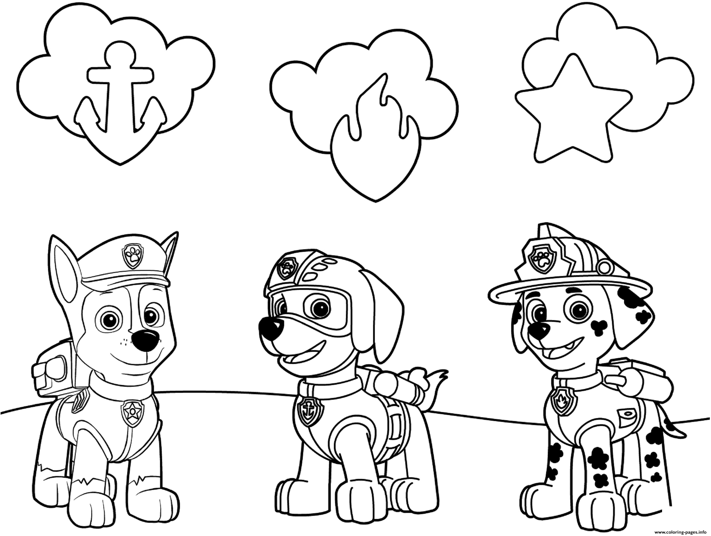 coloring pagesinfo has over 65 awesome paw patrol coloring pages including this cute coloring sheet of chase zuma marshall and their paw patrol badges - Free Printable Paw Patrol Coloring Pages