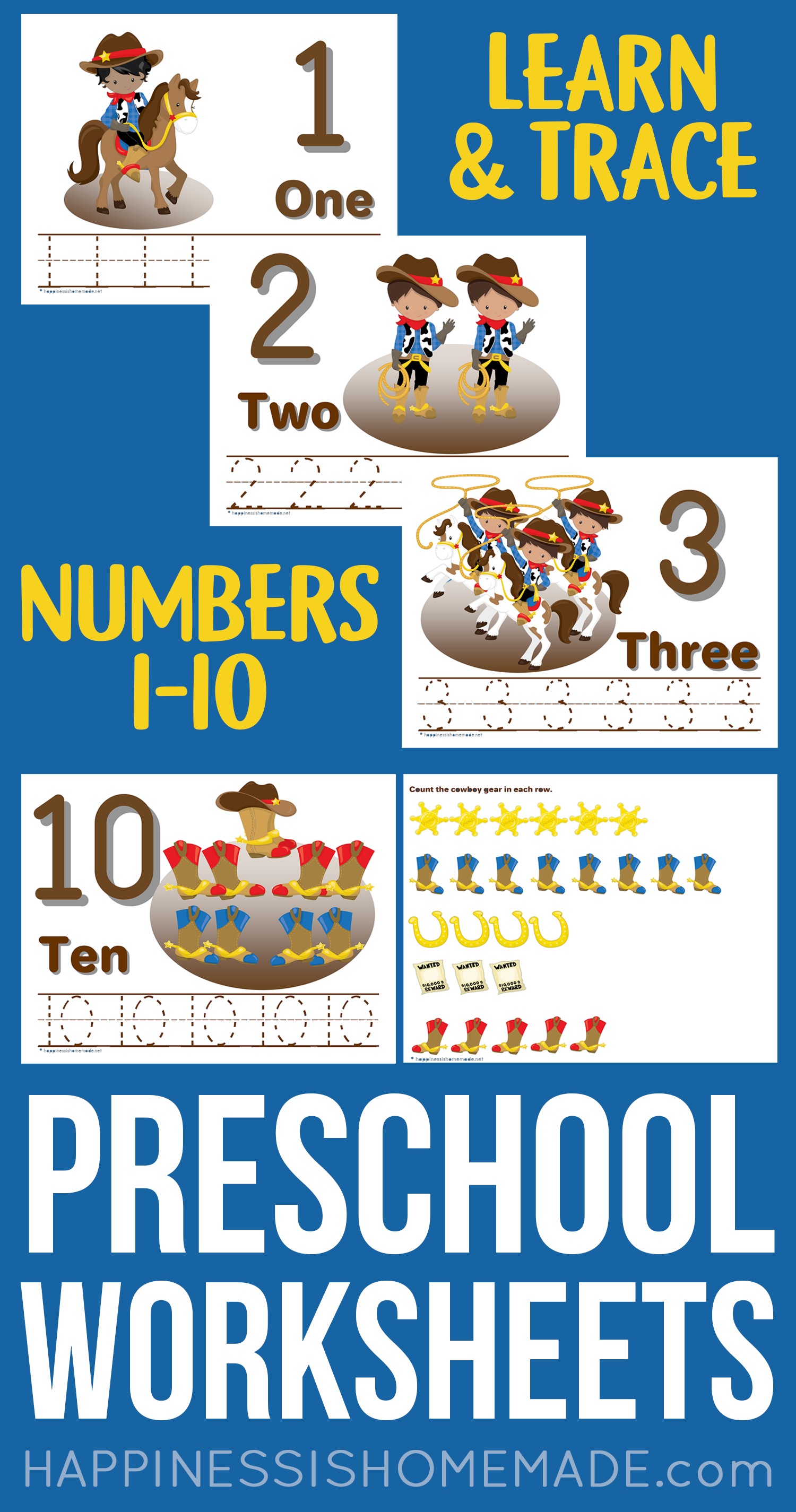 Preschool Worksheets Counting Number Tracing Worksheets Happiness Is Homemade