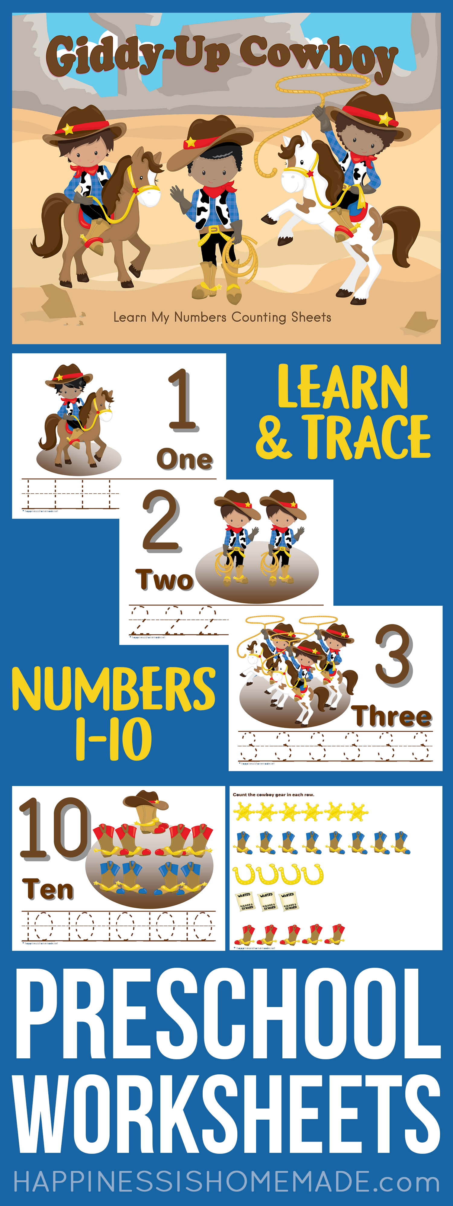 Preschool Worksheets: Counting & Number Tracing Worksheets ...