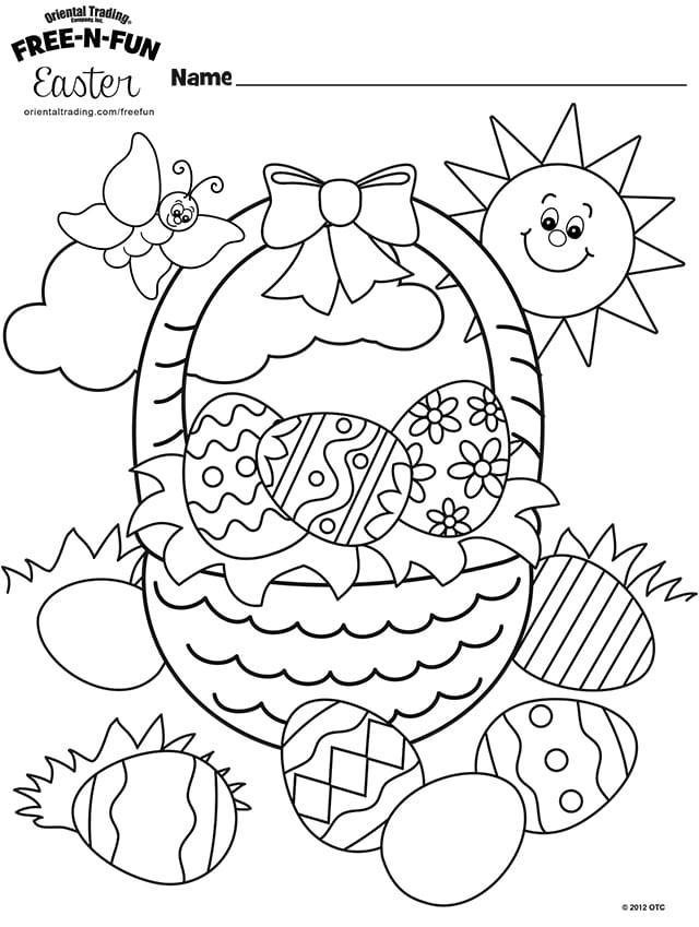 Easter Basket Coloring Page By Oriental Trading Co