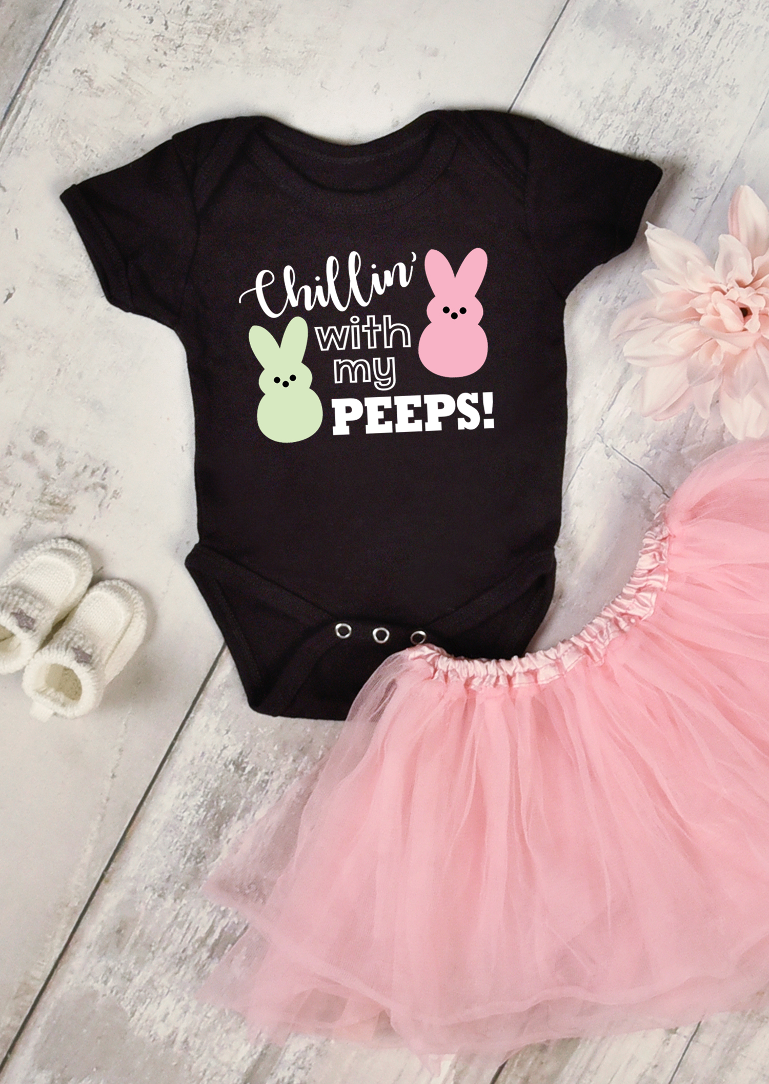 "Black baby onesie with ""Chillin' with My Peeps"" design and pink tutu - Easter SVG file"