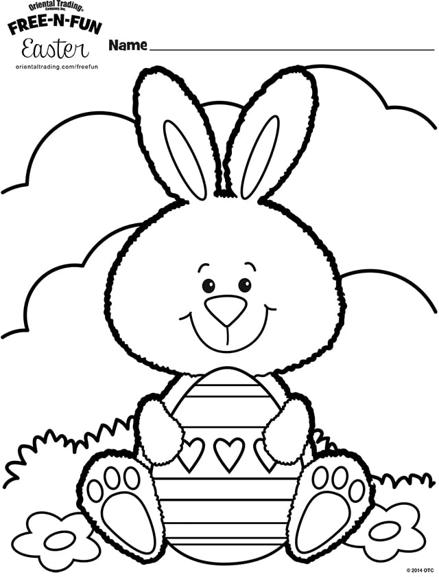 Adorable Easter Bunny And Egg Coloring Sheet By Oriental Trading Co
