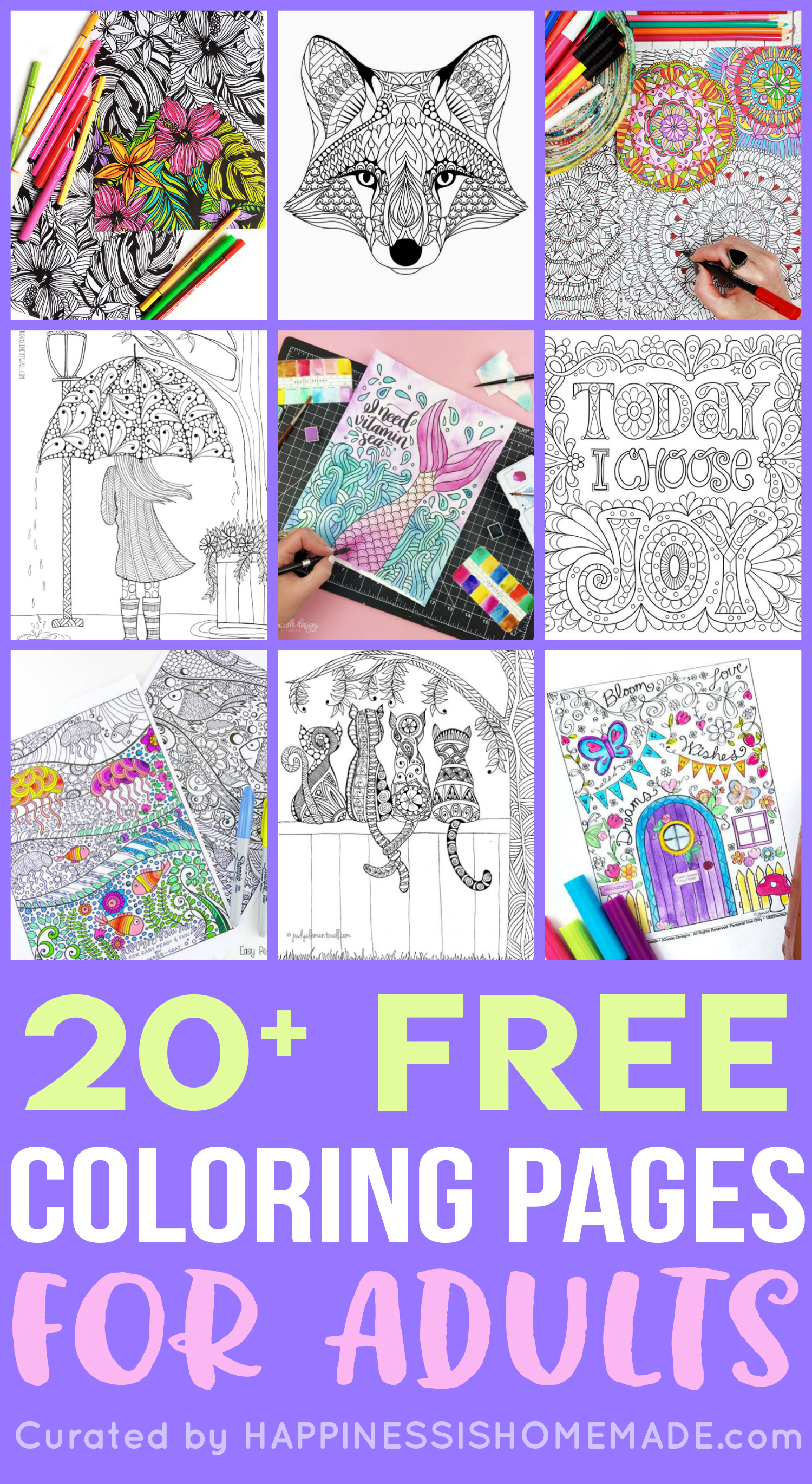 FREE Adult Coloring Pages Happiness
