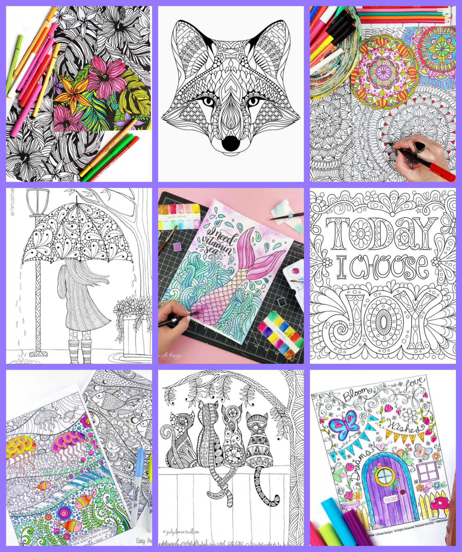 FREE Adult Coloring Pages that are perfect for grown-ups or older children who are looking for a challenge! A great way to relax, unwind, and de-stress!