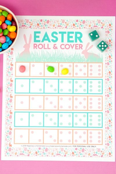 Roll and Cover Easter Game for Kids