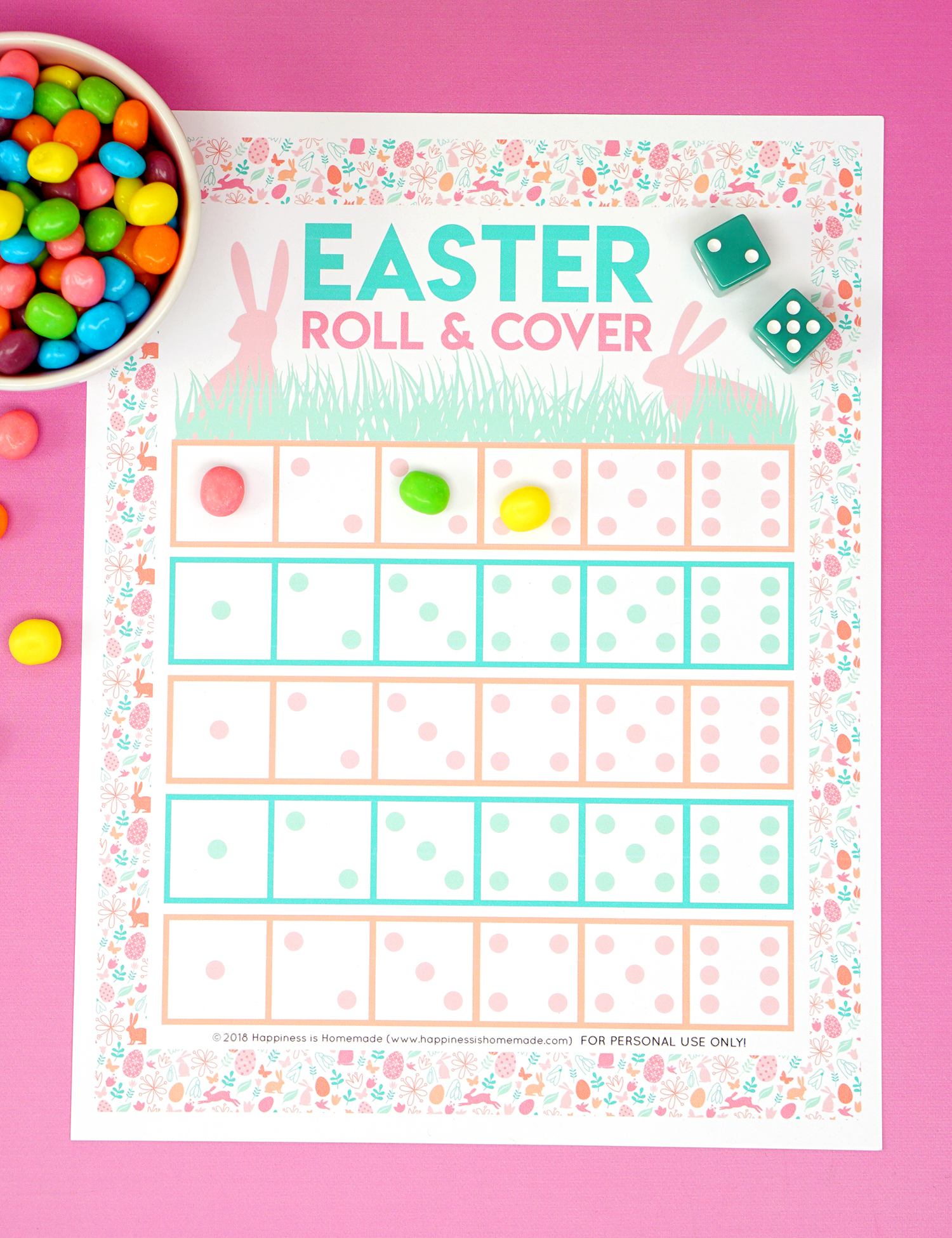 image regarding Printable Easter Games named Roll Deal with Printable Easter Activity - Contentment is Selfmade