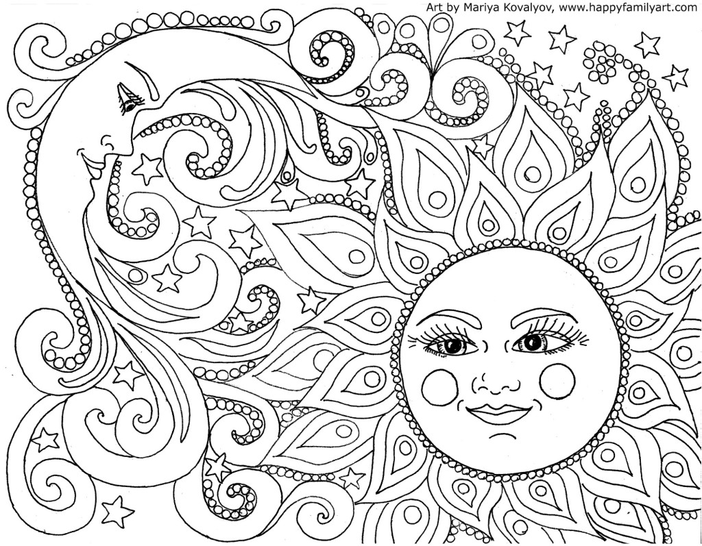 Printable coloring pages for adults sun and moon coloring