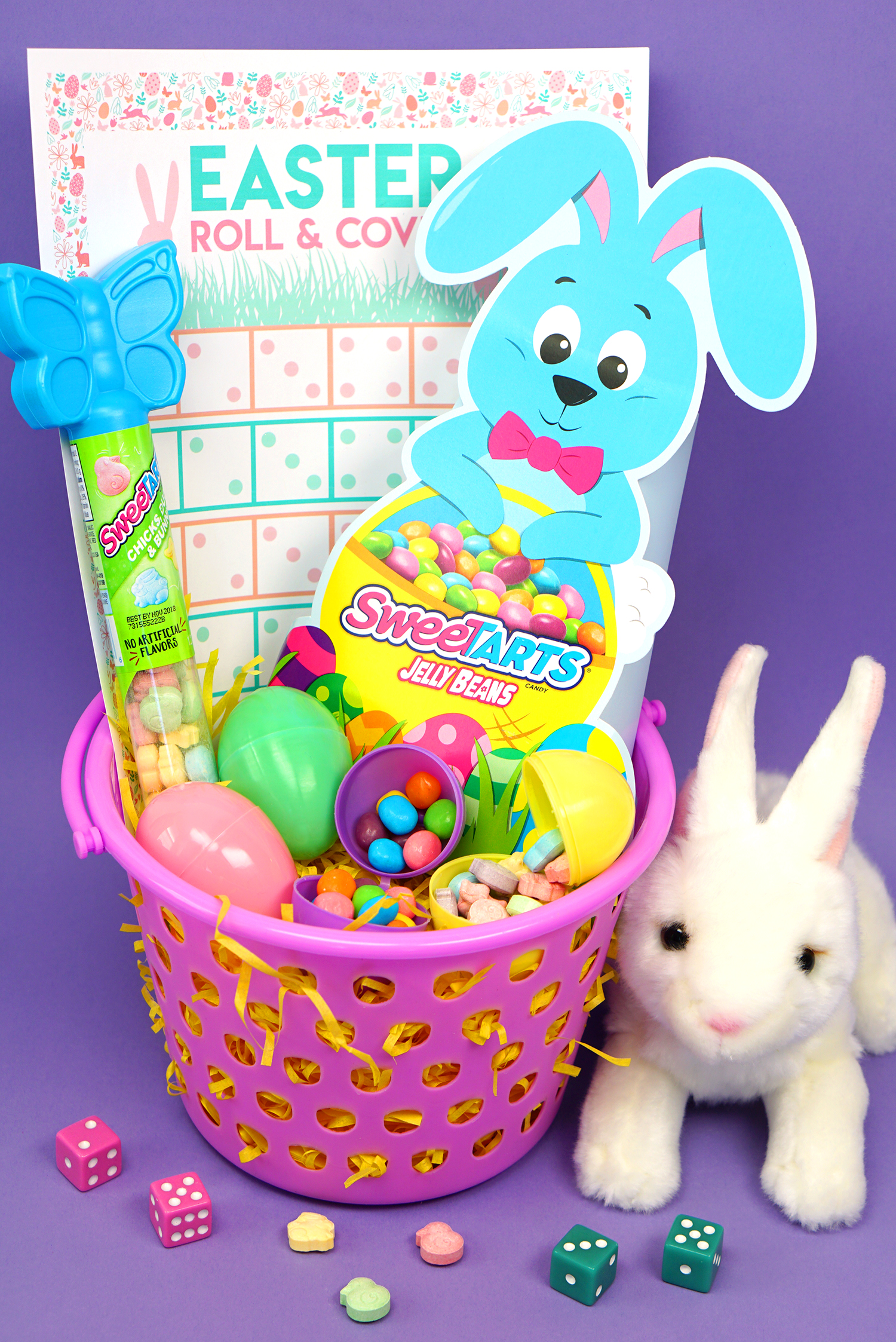 Roll cover easter game sweetarts easter basket happiness is box sweetarts chicks ducks and bunnies topper a pair of dice and a few easter eggs inside of your basket for an easter surprise that is sure to be negle Choice Image
