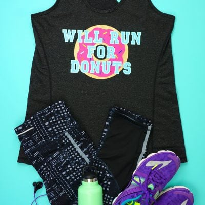 "Funny Workout Shirt: ""Will Run for Donuts"" with Cricut SportFlex Iron-On"