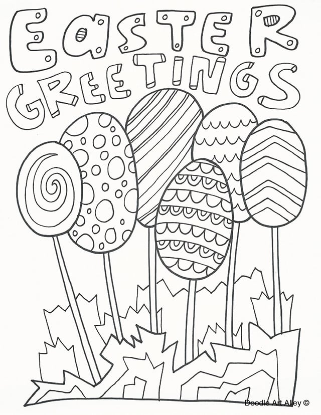 Easter Greetings Coloring Page By Doodle Art Alley