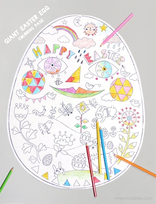 GIANT Easter Egg Coloring Sheet By Mr Printables