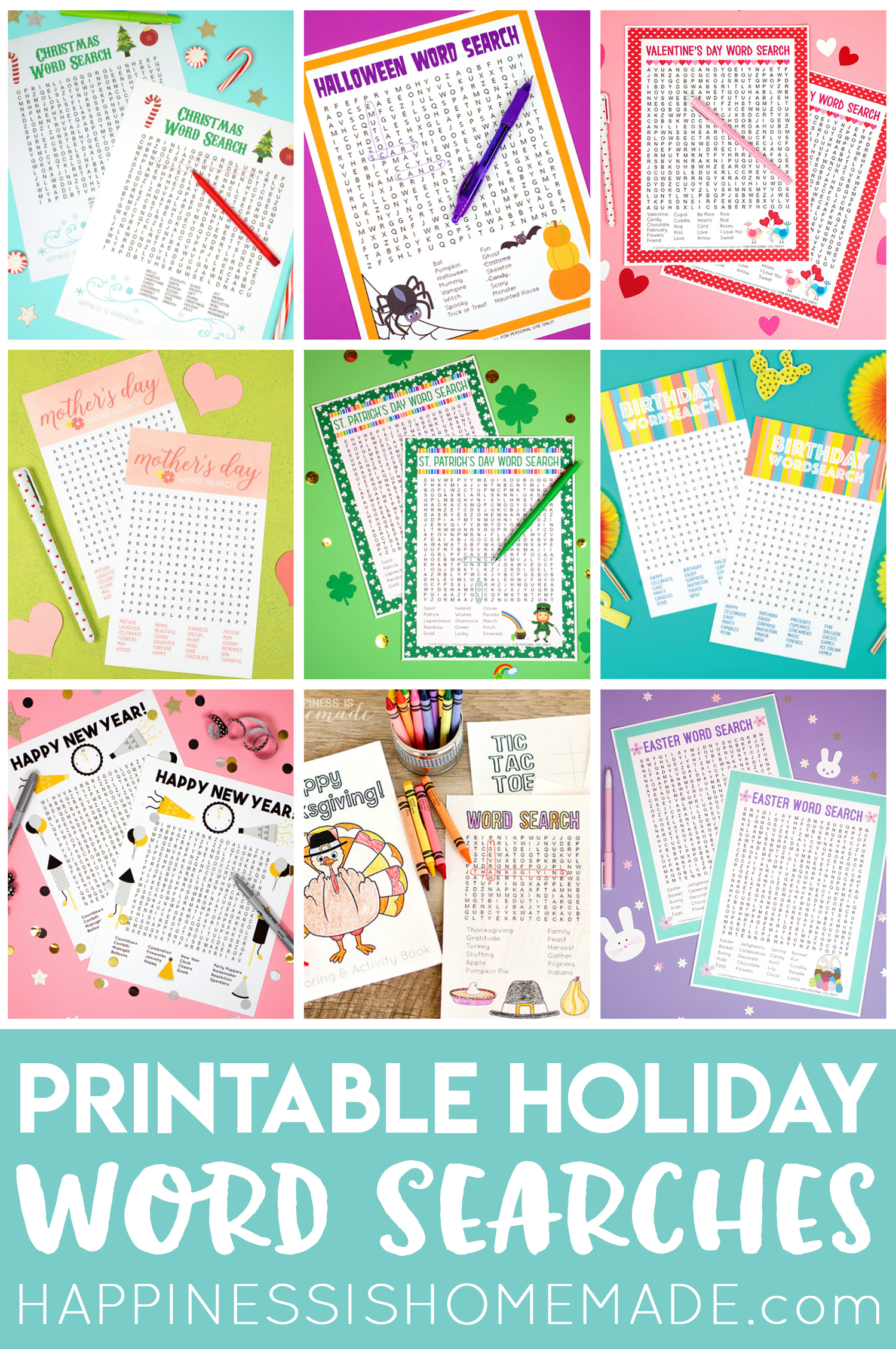 graphic about Holiday Word Search Printable titled Holiday vacation Term Look Printables - Contentment is Do-it-yourself