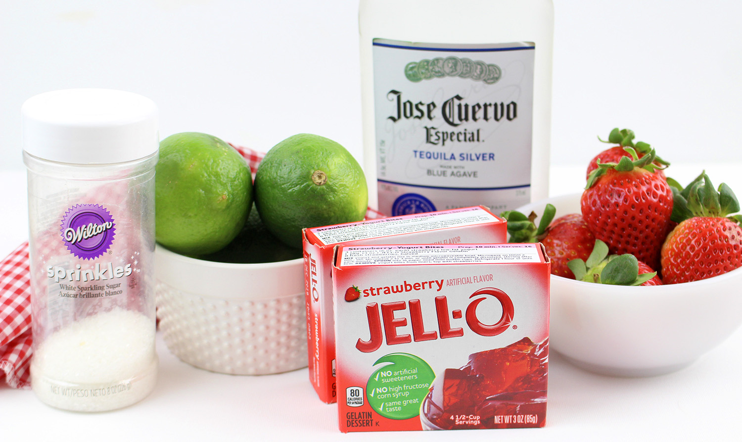 Ingredients for strawberry margarita jello shots