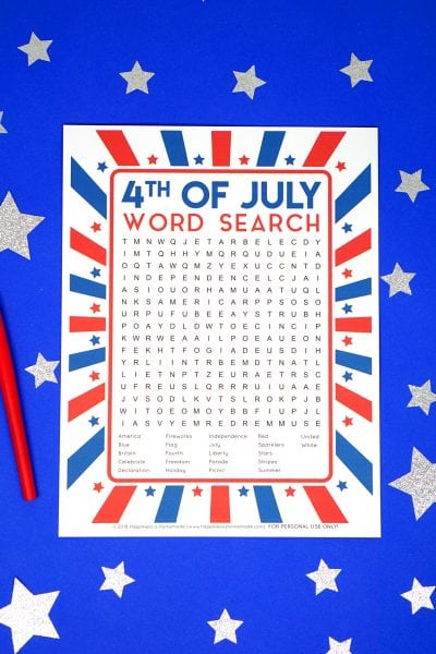 4th of July Printable Word Search for Kids and Adults