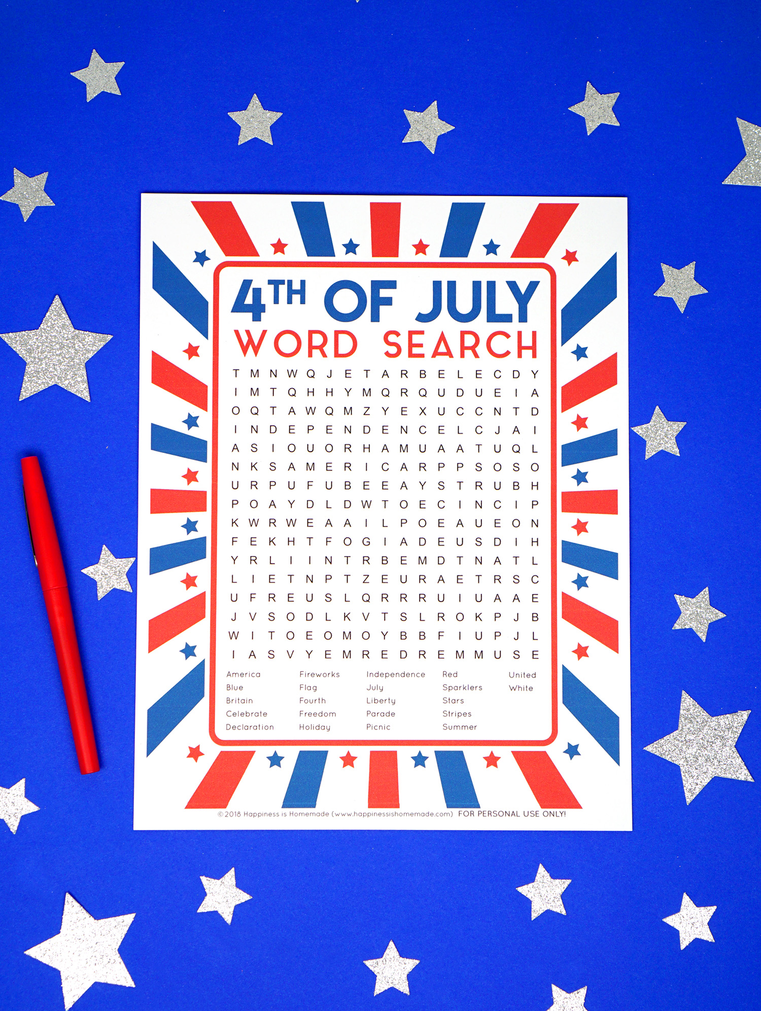 image relating to Printable Wordsearch for Kids referred to as 4th of July Term Look Printable - Joy is Selfmade