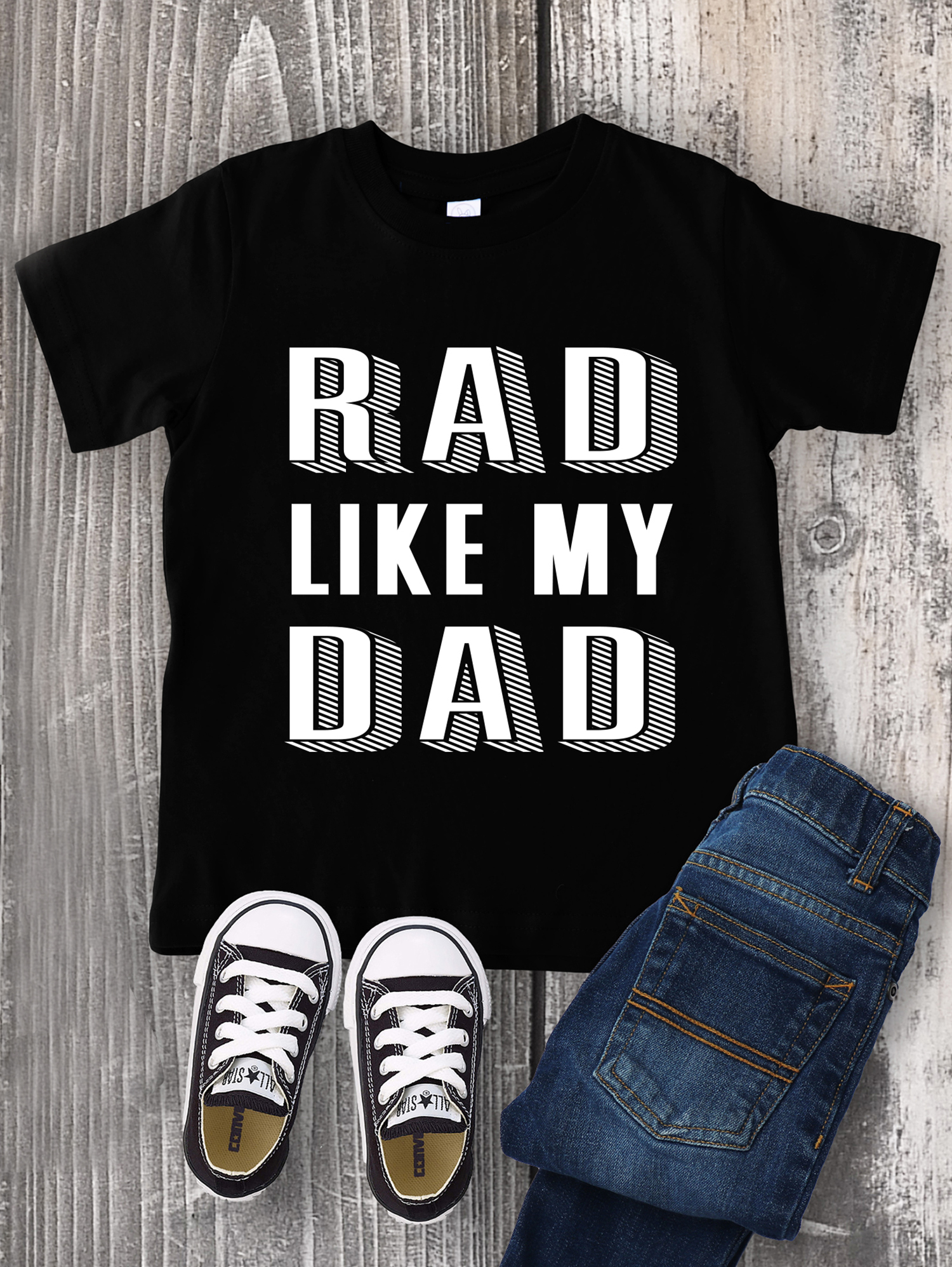 """9833d0bb I can't get over how cute this """"Rad Like My Dad"""" shirt is (especially with  those tiny little Converse!)! It would look totally adorable on any little  boy or ..."""