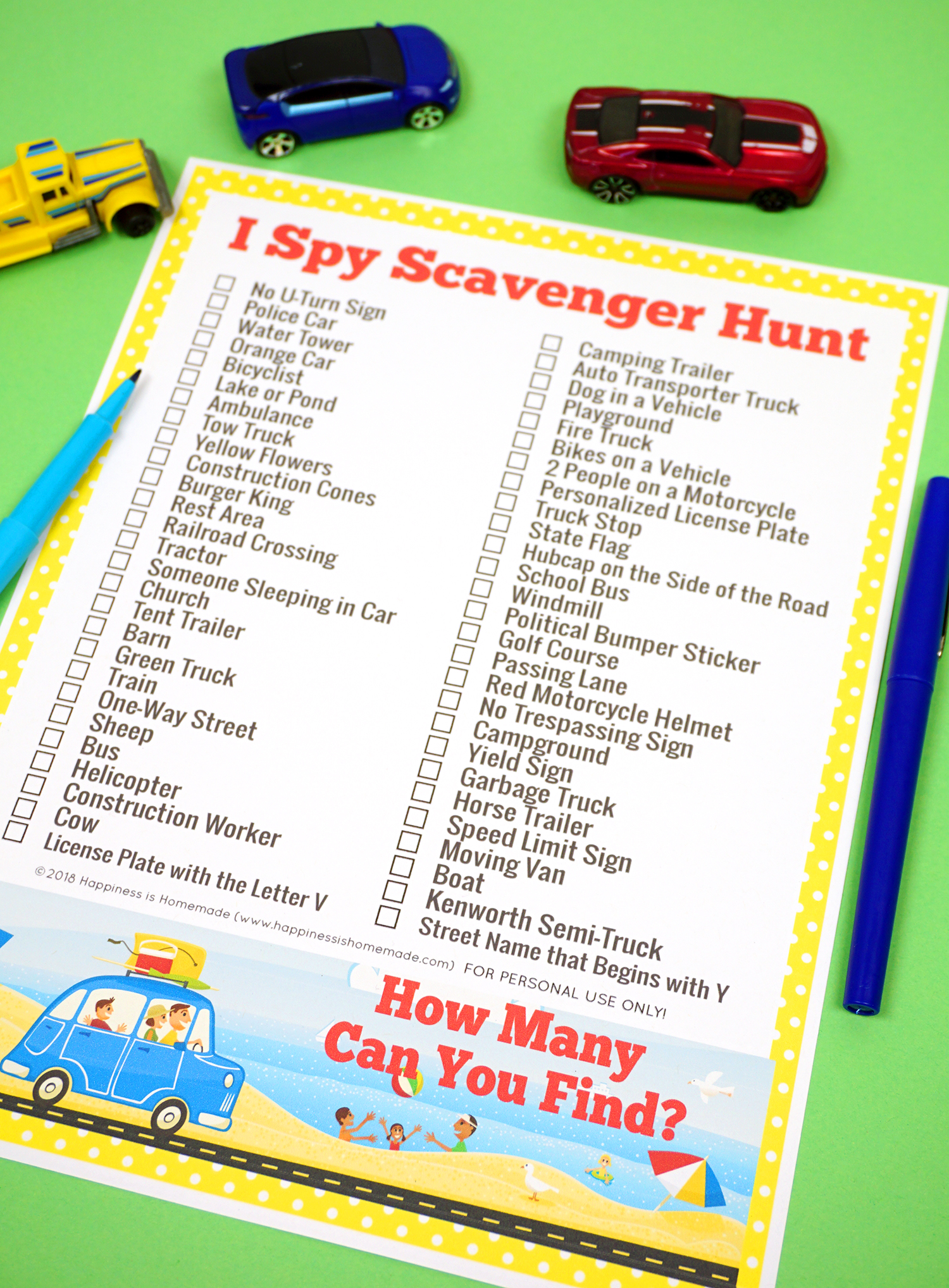 picture regarding Road Trip Scavenger Hunt Printable identified as Highway Getaway Game titles: I Spy Scavenger Hunt - Pleasure is Handmade