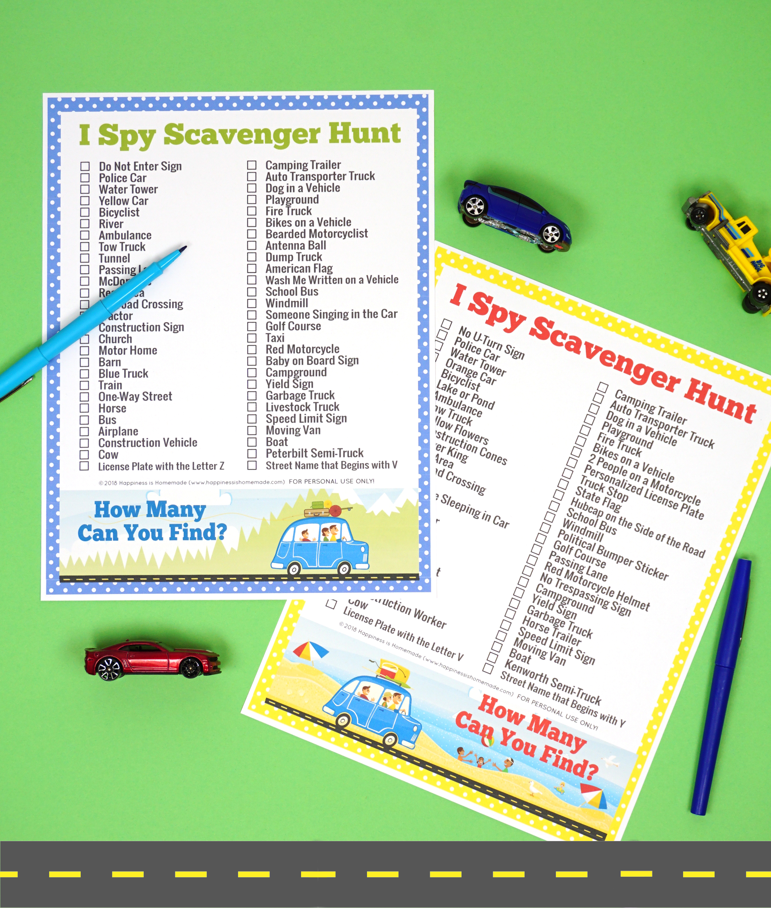 Road Trip Games I Spy Scavenger Hunt Happiness is Homemade