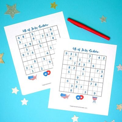 4th of July Printable Sudoku Puzzles + Logic Puzzle