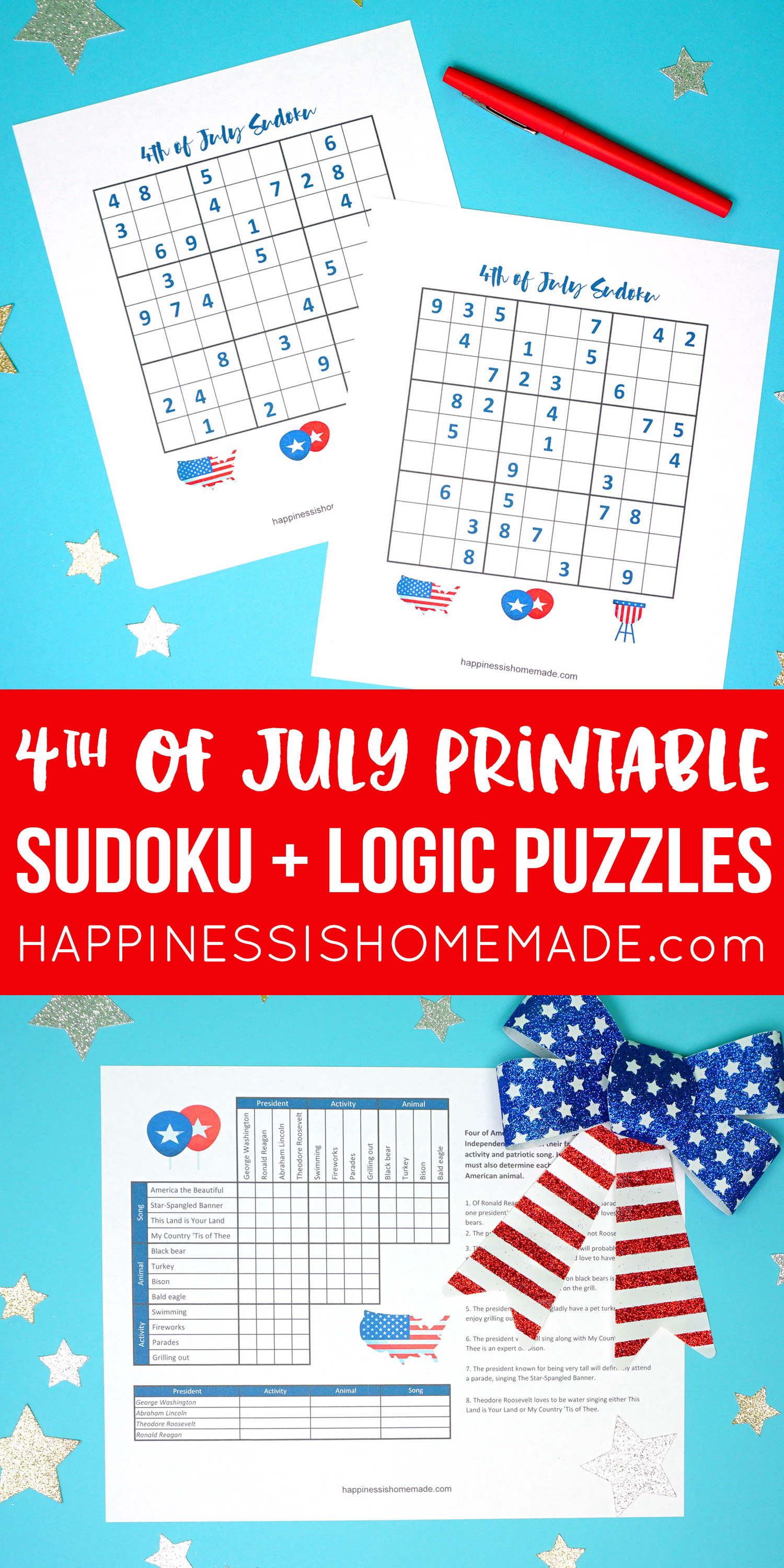 picture about Printable Sudoku Grid referred to as 4th of July Printable Sudoku Puzzles + Logic Puzzle