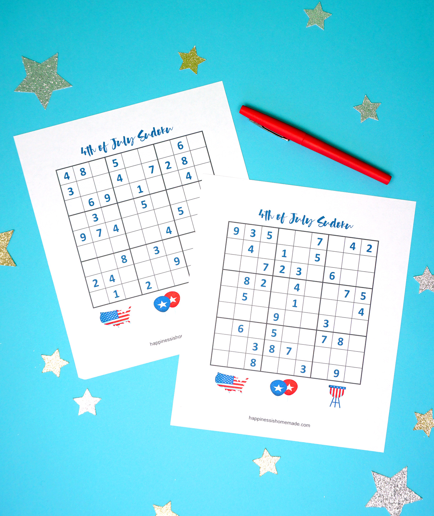 image regarding Printable Sudoku for Kids titled 4th of July Printable Sudoku Puzzles + Logic Puzzle