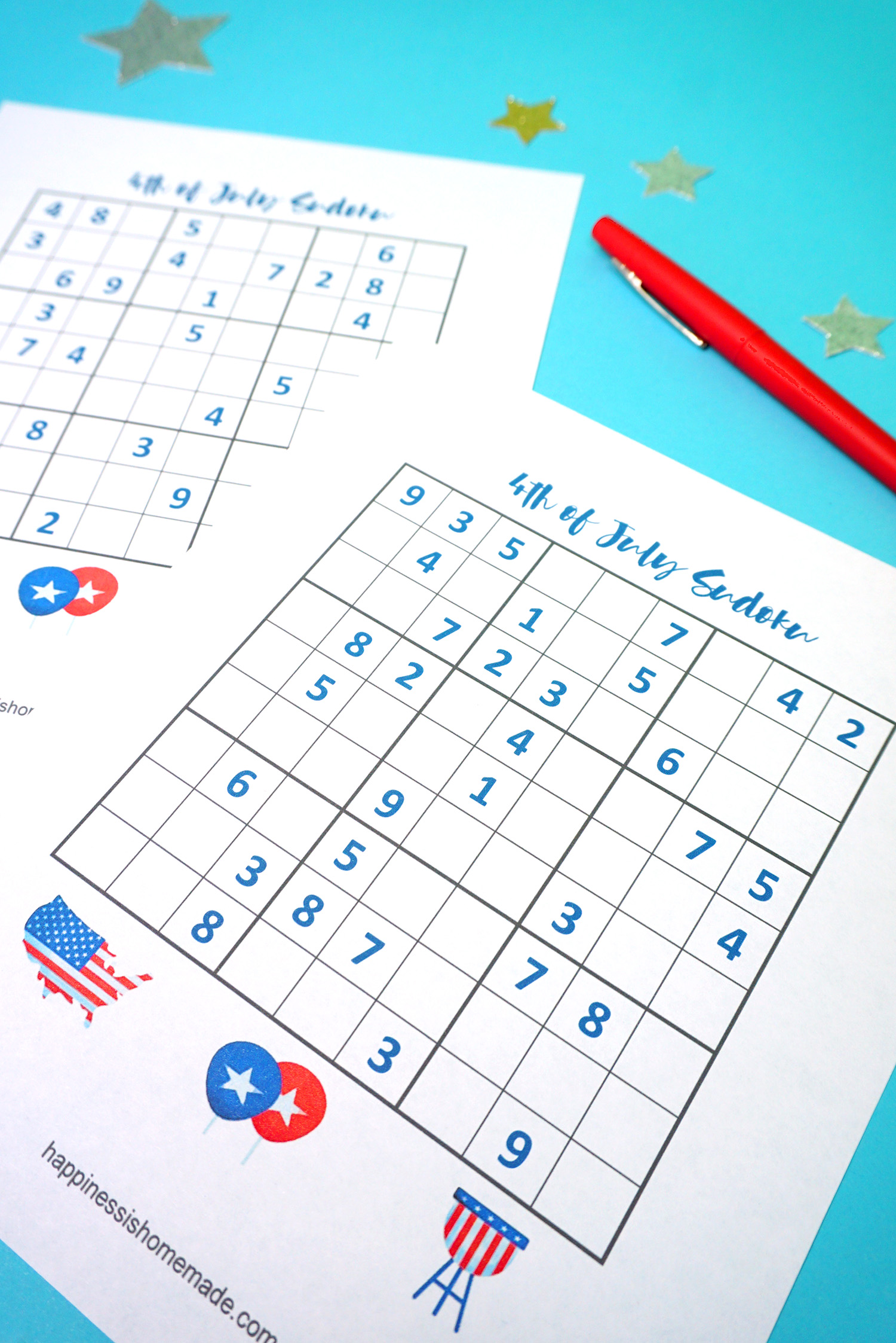 4th of July Printable Sudoku Puzzles + Logic Puzzle - Happiness is