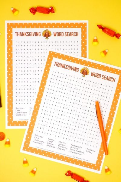 Thanksgiving Printable Word Search