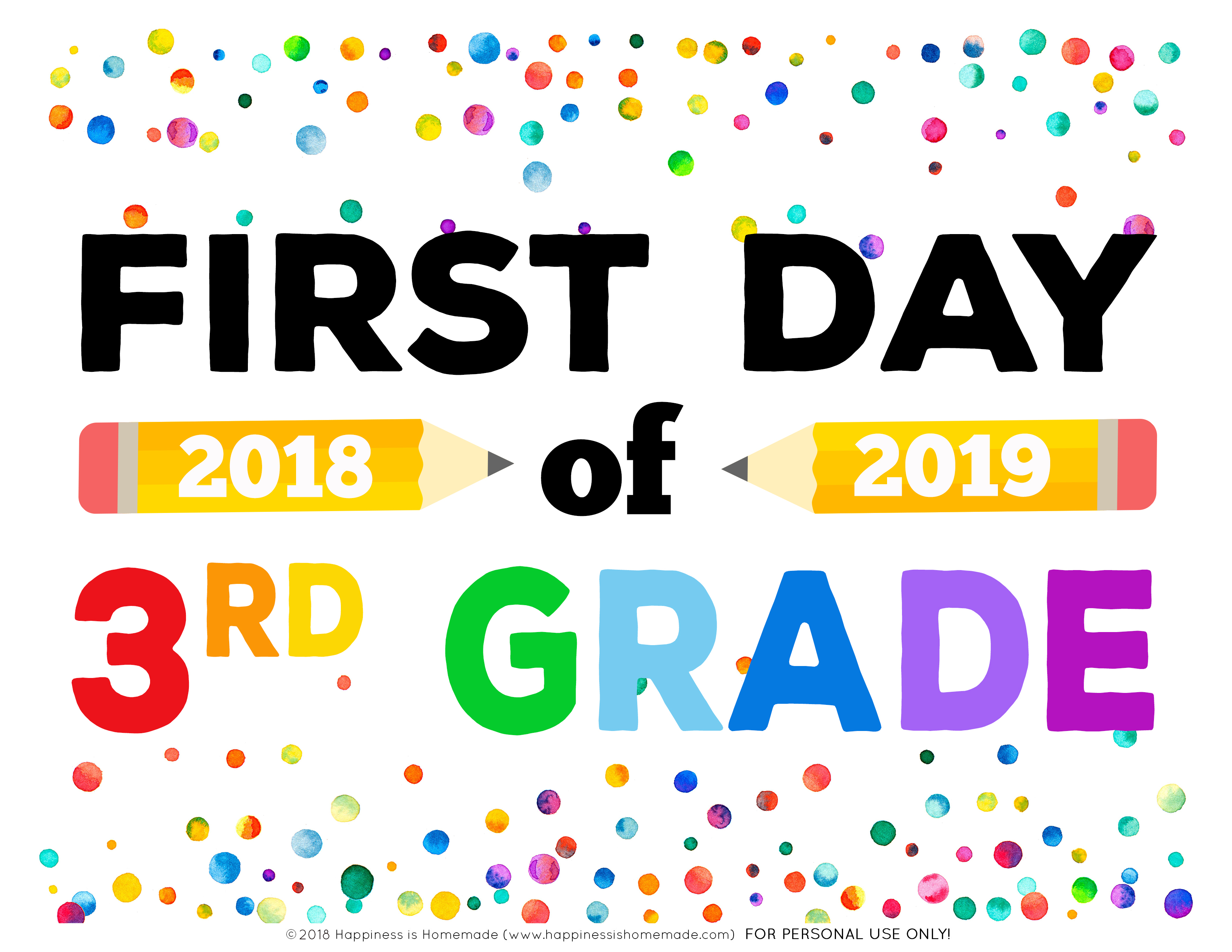 photo relating to First Day of 3rd Grade Sign Printable called Absolutely free Printable Initial Working day of Higher education Indicators - Joy is Selfmade
