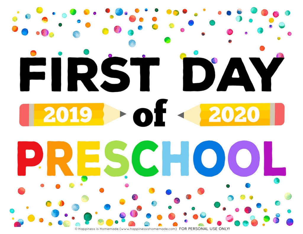 Free printable First Day of Preschool Sign