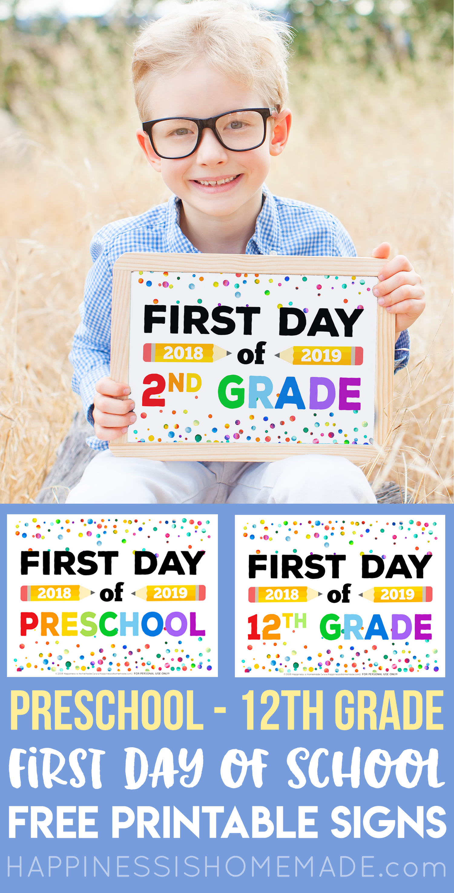 picture about Free Printable Back to School Signs known as Totally free Printable To start with Working day of Faculty Signs or symptoms - Pleasure is Do-it-yourself