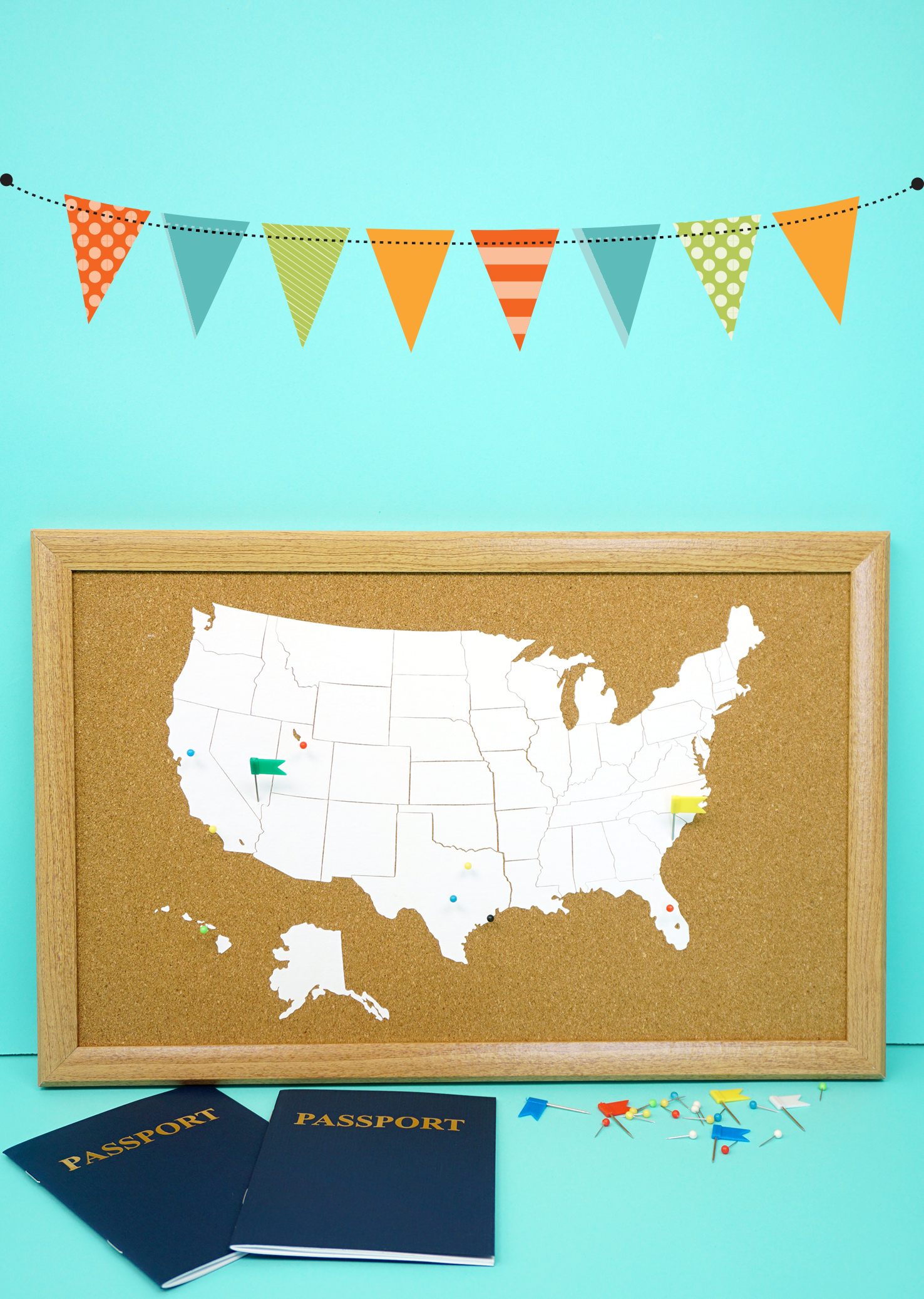 DIY Cork Board Travel Map With The Cricut EasyPress Happiness Is - Make your own travel map