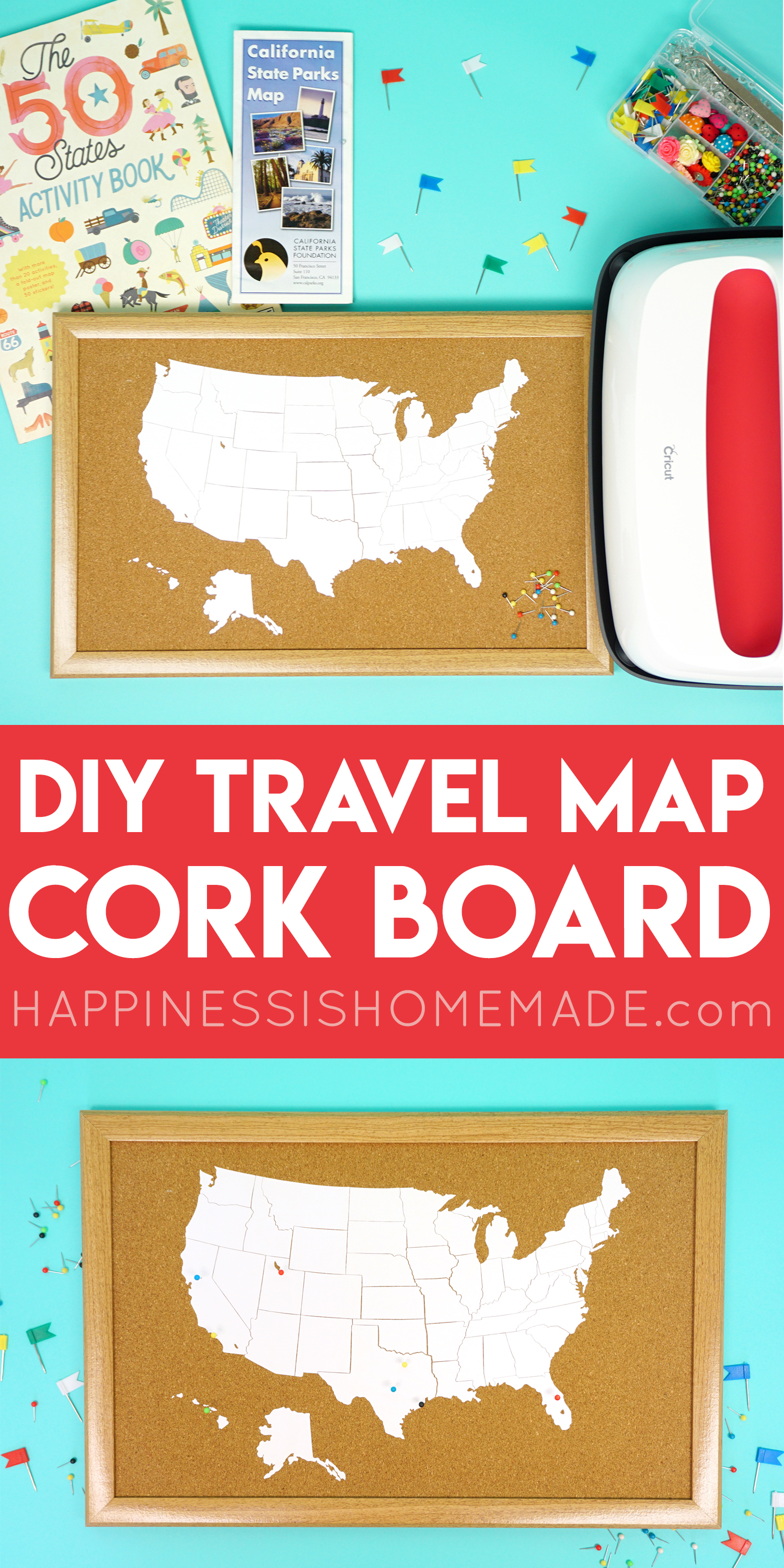 DIY Cork Board Travel Map with the Cricut EasyPress 2 Happiness is