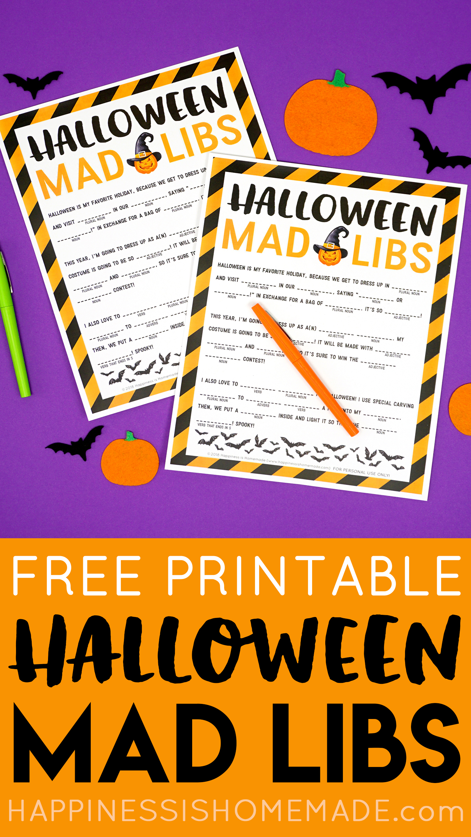 Free Printable Halloween Mad Libs for Kids and Adults