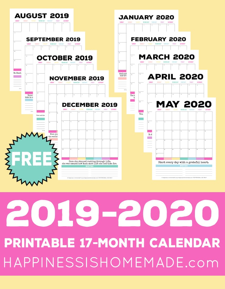Printable Monthly Calendar 2019-2020: Looking for a FREE 2019-2020 printable calendar? This 17-month printable calendar (August 2019 to December 2020) makes planning simple! With colorful patterns and an inspirational quote for each month, this printable monthly calendar is perfect for organizing everything in your life from menu planning to appointments!