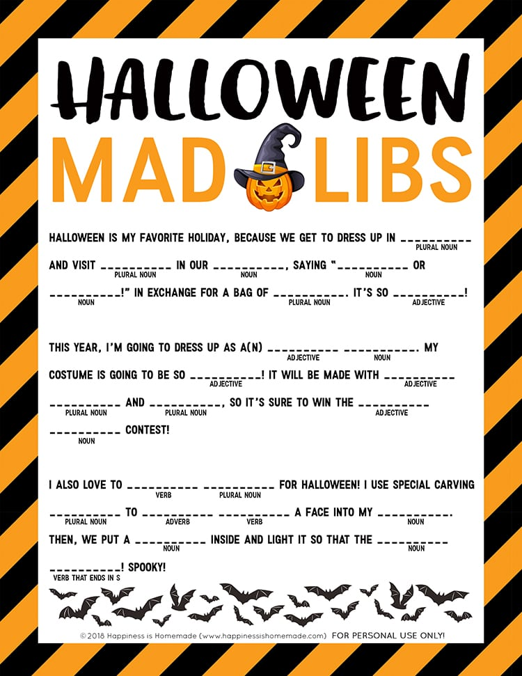 image about Funny Mad Libs Printable named Halloween Insane Libs Printable - Joy is Handmade