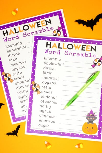 Halloween Word Scramble for Kids and Adults