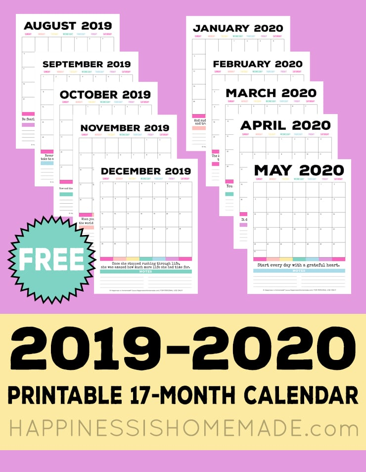 image relating to Calendars Free Printable referred to as 2019-2020 Cost-free Printable Month-to-month Calendar - Contentment is