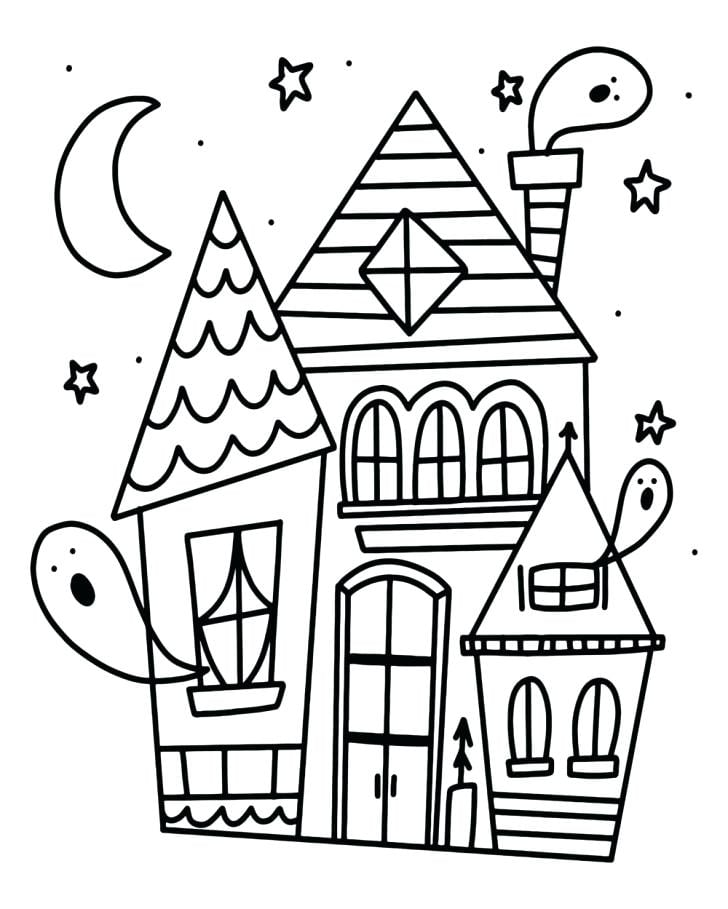 Haunted House and Ghosts Halloween Coloring Page