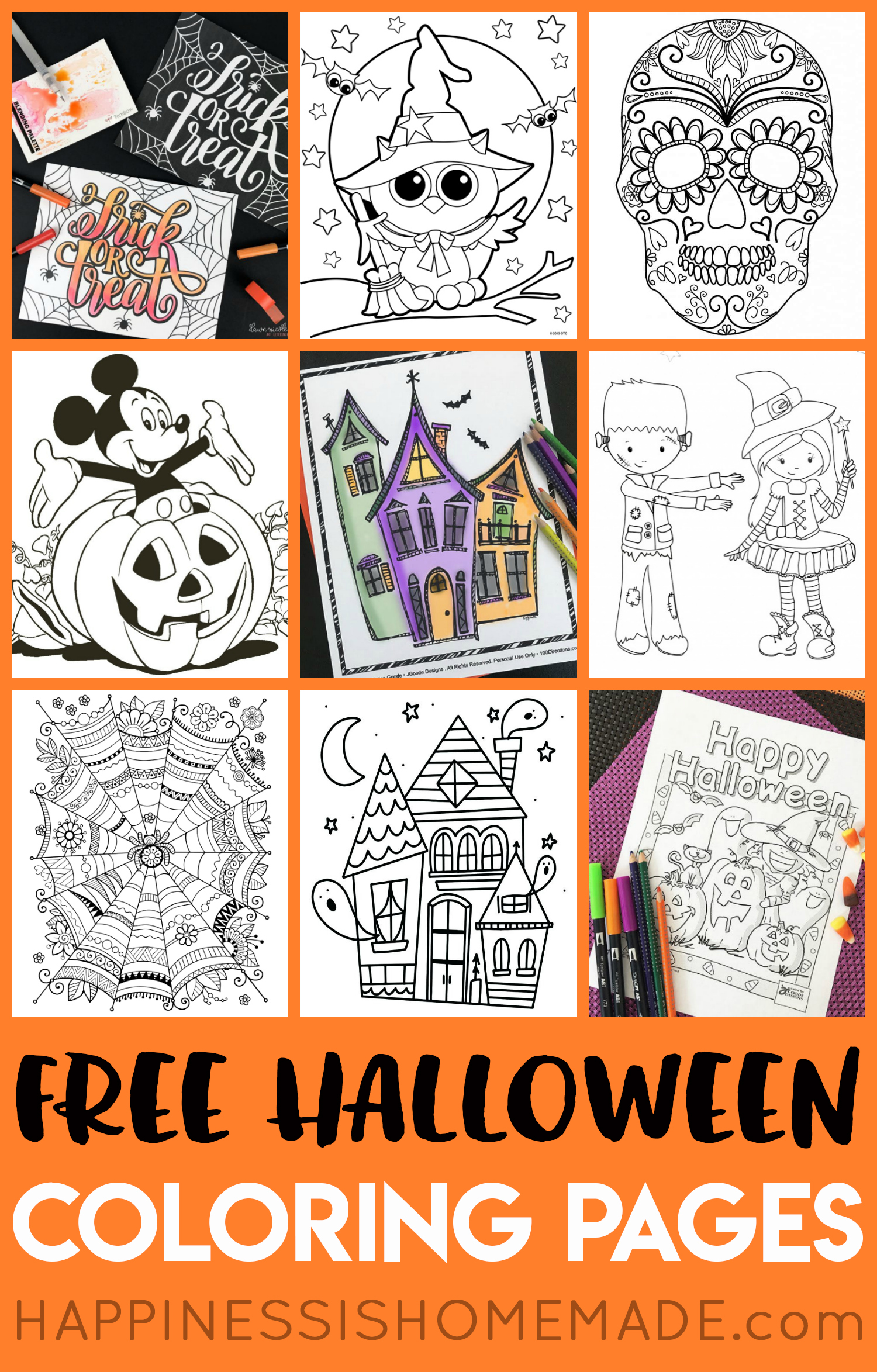 Halloween Mickey Mouse Charlie Brown Haunted Houses Sugar Skulls Bats Witches And More These Printable Coloring Sheets Are Sure To Be A