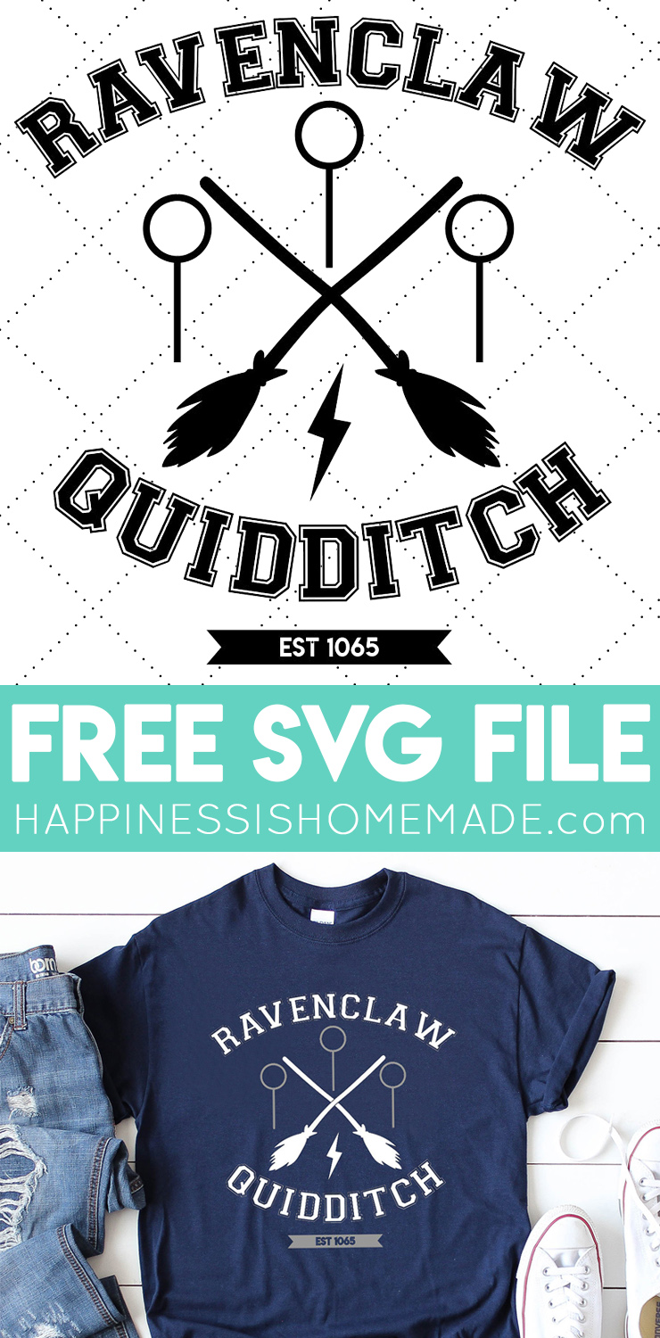 Harry Potter Ravenclaw Shirt + Free SVG - Get this FREE Ravenclaw Quidditch SVG file to create your own Harry Potter shirts, hoodies, notebooks, and more!#harrypotter #svg #happinessishomemade