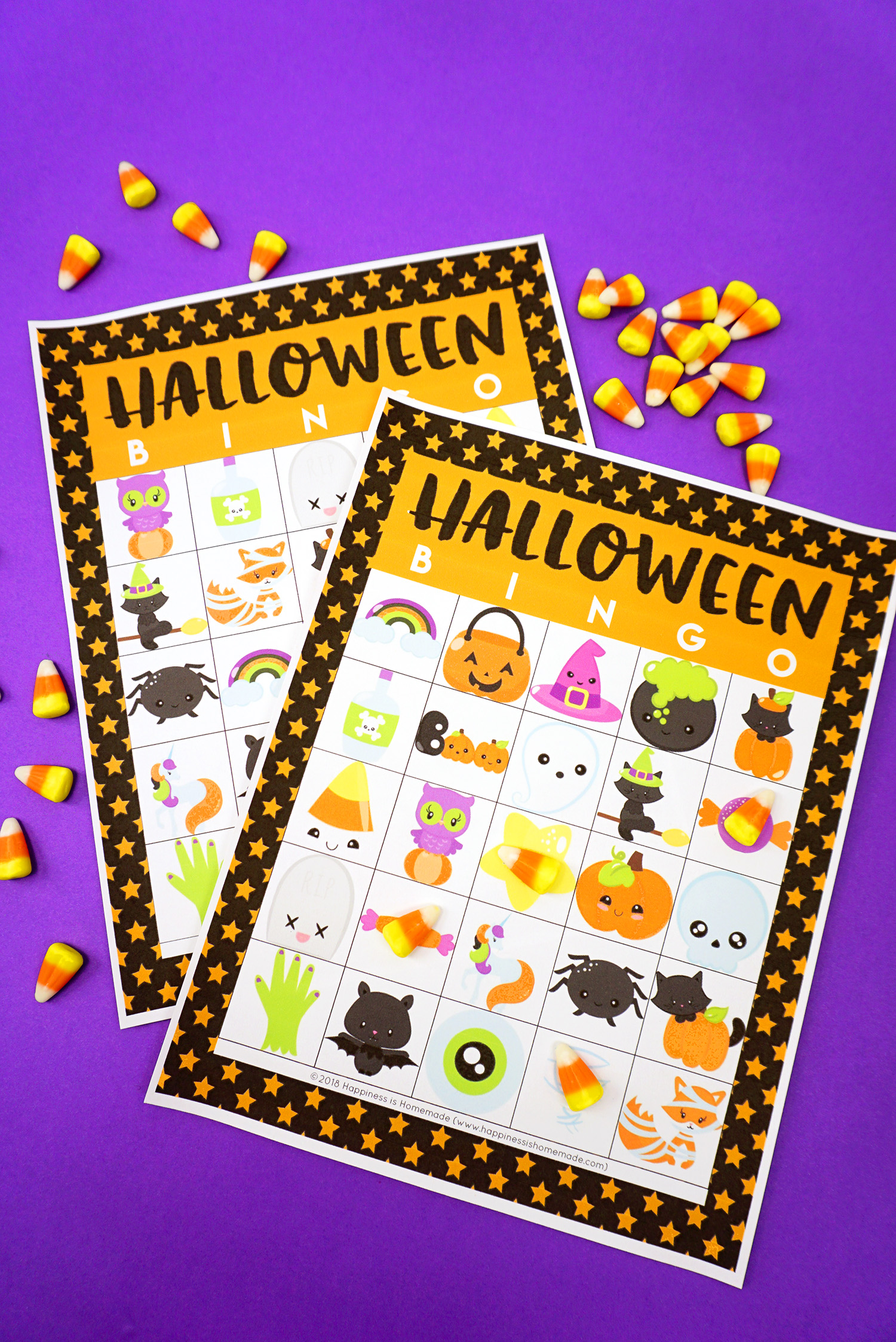 Printable Halloween Bingo Game Cards for Kids and Teachers