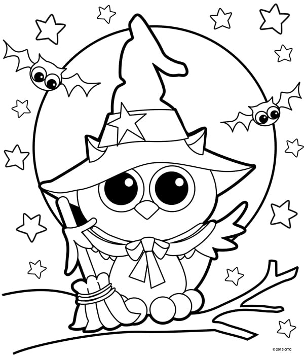 Owl in witch hat coloring page for Halloween