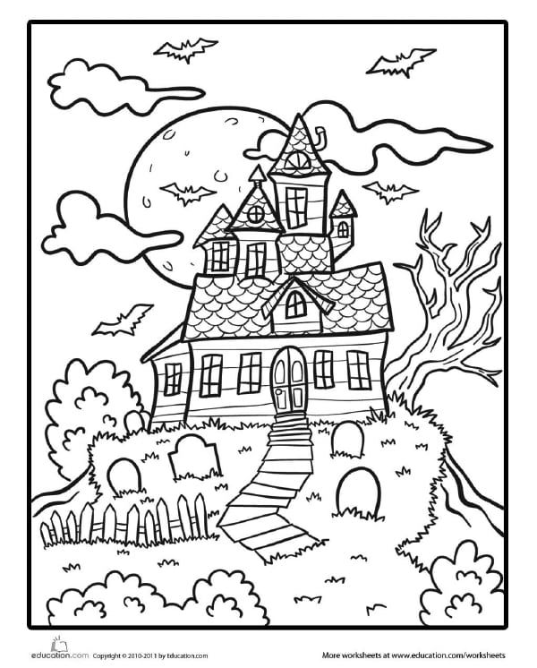 Friendly Haunted House Coloring Page for Halloween