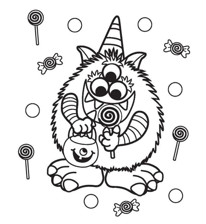Monster with Candy Halloween Coloring Sheet