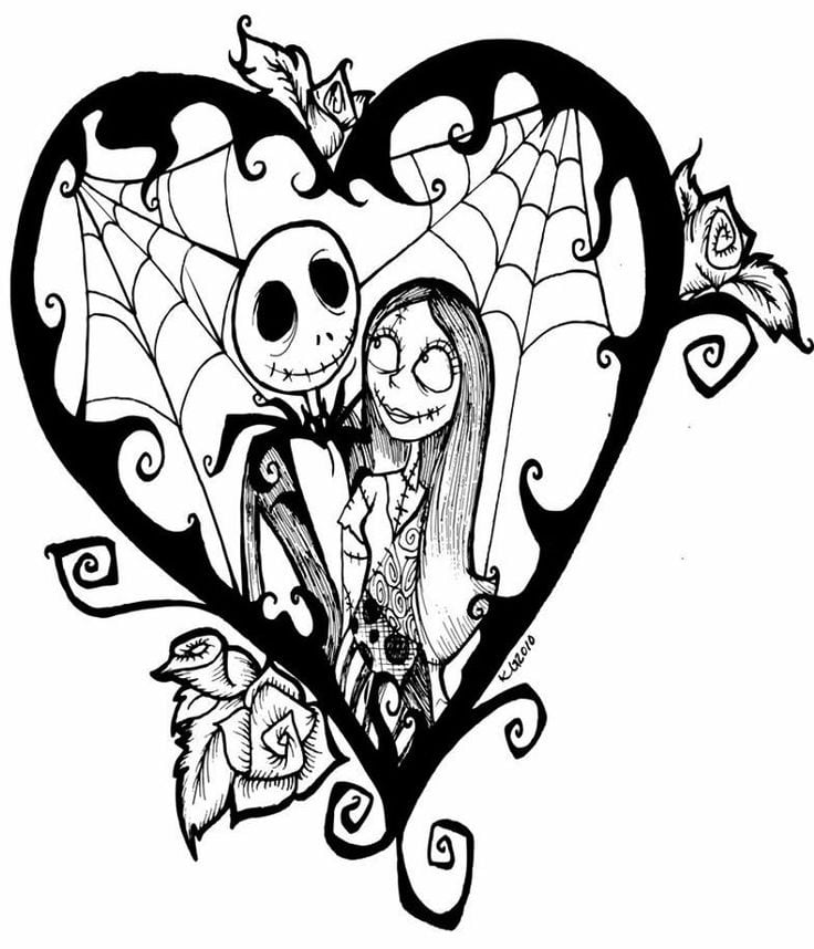 Nightmare Before Christmas Jack & Sally Coloring Page