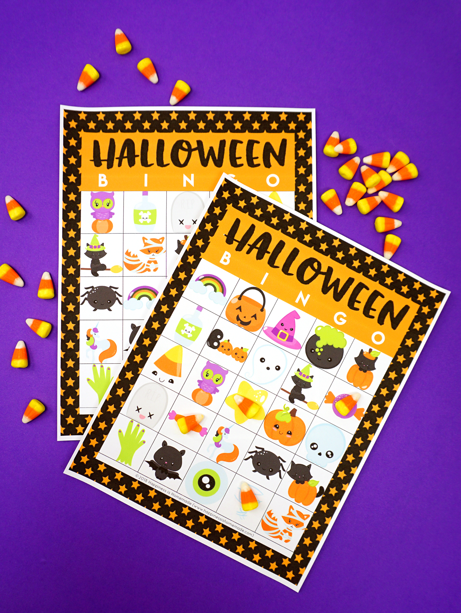 Printable Halloween Bingo Game Cards with Candy Corn